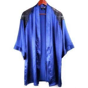 Victoria's Secret | Satin Robe Blue Black Lace